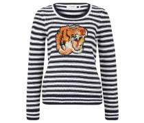 Pullover, Strick, Streifen, Tiger-Patch, Blau