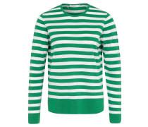 Pullover, Feinstrick, Wolle, gestreift, Seitenschlitz, Grün