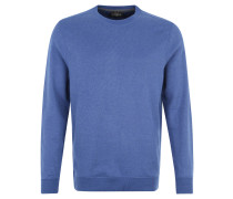 Sweatshirt, Rippstrick, Rundhalsausschnitt, Baumwolle, Blau