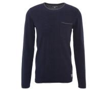 Pullover, uni, Brusttasche, Rollsaum, Baumwolle, Blau