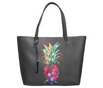 Shopper, Ananas-Print, Emblem, Schwarz