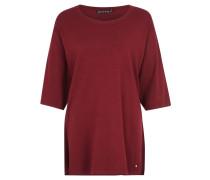 Pullover, überschnittener 3/4-Arm, Oversized, Schlitze, Rot