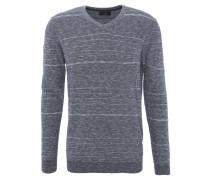 Pullover, Rundhalsausschnitt, Baumwolle, meliert, Blau