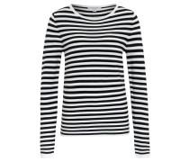 Pullover, Rundhals-Ausschnitt, Streifen, Weiß
