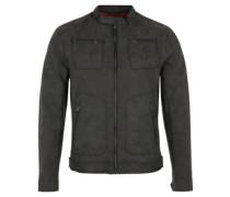 Biker-Jacke, Used-Leder-Look, breite Reißverschlüsse