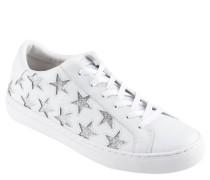 Sneaker, Leder, Glitzer-Sterne, Marken-Prägung