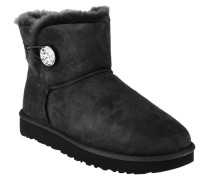 "Boots ""Mini Bailey Button Bling"", Veloursleder, Strass-Knopf, Schwarz"