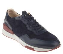 Sneaker, Leder, Lochmuster, Schnürung, Blau