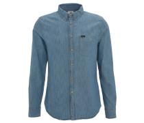 Freizeithemd, Jeans, Button-Down-Kragen, Brusttasche, Twill, Blau