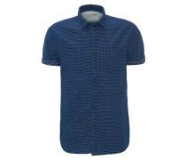 Freizeithemd, Slim Fit, Kurzarm, Streifen-Design, Kent-Kragen, Blau