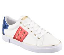 Sneaker, Nieten, Schnürung, Marken-Emblem, Sterne, Weiß