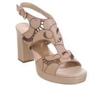 Sandaletten, Leder, geschnittenes Muster, Blockabsatz, Beige