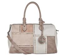 Handtasche, Nieten, geometrisches Muster, mit Schultergurt, Weiß