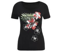 T-Shirt, Blumen-Print, leicht tailliert, Schwarz