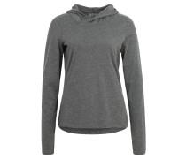 Pullover, Melange, Kapuze, Grau