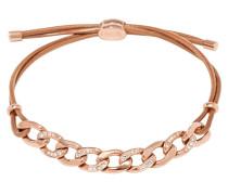 Charm Armband Leder Edelstahl rosevergoldet JF01484791