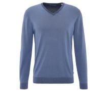 Pullover, Baumwolle, V-Ausschnitt, Rippbündchen, Taupe