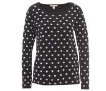 Pullover, Allover-Muster, seitlicher Reißverschluss, Schwarz