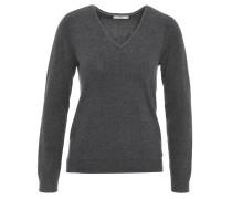 Pullover, seitliche Schlitze, V-Ausschnitt, Grau