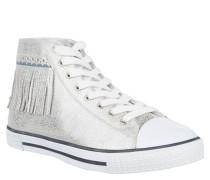 Sneaker, Metallic-Look, Fransen, Lyralochung, Silber