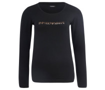 Schlafanzug-Shirt, Baumwoll-Mix, Metallic-Print, Schwarz