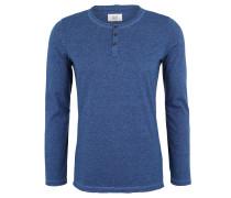 Langarmshirt, Baumwolle, Melange, Henley-Kragen, Blau