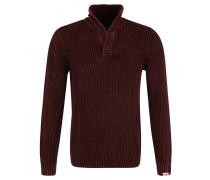 Pullover, Zopfmuster, Baumwolle, Troyer-Kragen, Rot