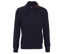 Pullover, Troyer, Grobstrick, Ellbogen-Patches, Blau