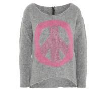 Pullover, Strass, Peace-Symbol, Grau