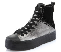 Stiefel, Schnürung, Plateau, Metallic, Silber