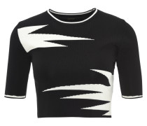 T-Shirt, 3/4-Arm, Feinstrick-Optik, zweifarbig, Schwarz