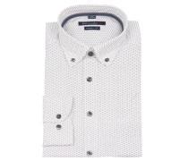 Freizeithemd, Modern Fit, geometrisches Muster, Weiß