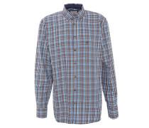 Freizeithemd, Button-Down-Kragen, kariert, Baumwolle, Blau