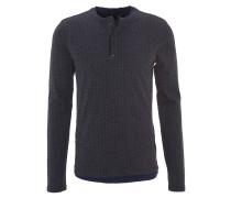 Langarmshirt, gemustert, Lagen-Look, Henley-Kragen, Blau
