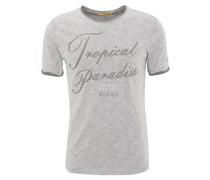 T-Shirt, Spruch-Print, meliert, Grau