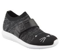 Sneaker, Katzen-Motiv, meliert, Rippbündchen, Schwarz