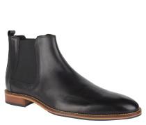 Chelsea Boots, Glattleder, Gummizug, leichter Absatz, Schwarz