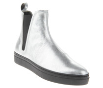 "Chelsea Boots ""Camille"", Leder, Glanz-Optik, Plateau, Silber"
