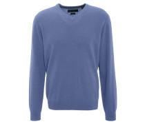 Pullover, Kaschmir, V-Ausschnitt, Rippbündchen, Blau