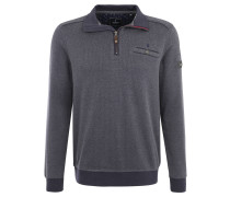 Sweatshirt, Troyer-Kragen, reine Baumwolle, Blau