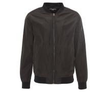 Jacke, glänzend, Stehkragen, Rippbündchen, Schwarz