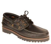 Bootsschuhe, Leder, Profilsohle, Kontrastnähte, Schwarz