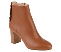 "Ankle Boots ""Claude"", Leder, goldene Knöpfe, Braun"