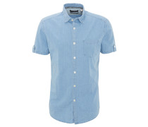 Hemd, Slim Fit, Kent-Kragen, geometrisch gemustert, Blau