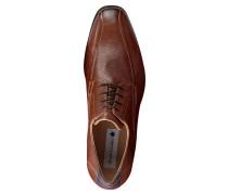 Schnürschuh, breite Passform, zweifarbiges Design, Braun