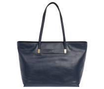 "Shopper ""Auranne"", genarbtes Leder, Metall-Detail, Blau"