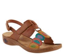 Sandalen, Blatt-Muster, Klettverschlüsse, Leder-Optik, Mehrfarbig