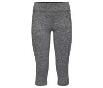 Tights, Sporthose, meliert, 3/4-Länge, Reißverschlusstasche hinten, für Damen, Grau