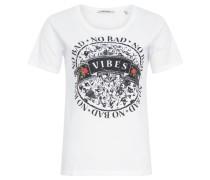 T-Shirt, no bad vibes-Print, Weiß