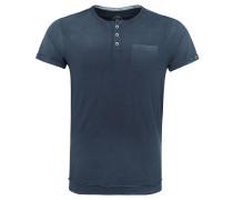 T-Shirt, Flammgarn, Baumwolle, halbe Knopfleiste, Blau